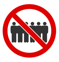 Flat stop people line icon vector
