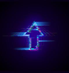 Futuristic cyberpunk glitch up arrow modern vector