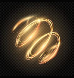 Glow gold swirl shiny spiral lines effect light vector