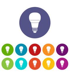 glowing led bulb set icons vector image