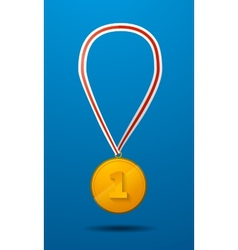 Gold medal for first place with tape icon vector