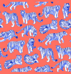Graphic seamless pattern of tigers in different vector