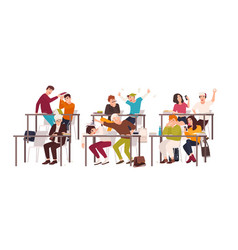 group of students or pupils sitting at desks in vector image
