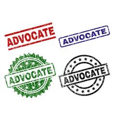 Grunge textured advocate stamp seals vector