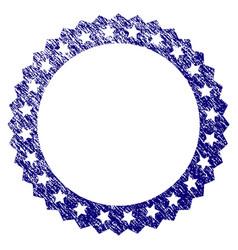 grunge textured starred rosette round frame vector image
