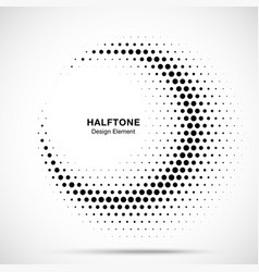 Halftone circle frame abstract dots logo emblem vector