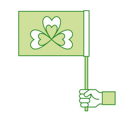 hand holding green flag with clover symbol vector image