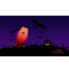 Happy Halloween image with pumpkin vector image