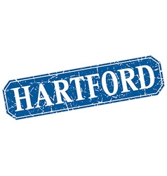 Hartford blue square grunge retro style sign vector