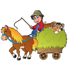 hay cart with cartoon farmer vector image
