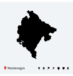 high detailed map montenegro with navigation vector image