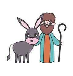 Joseph and donkey manger nativity merry christmas vector