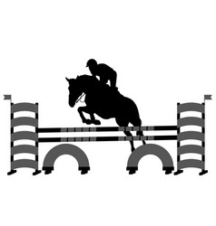 Jumping show horse with jockey jumping a hurdle vector