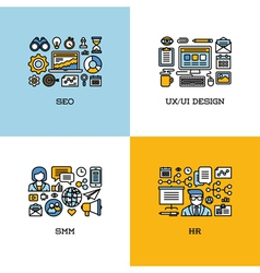 Line icons set of SEO UI and UX design SMM HR vector
