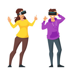 man and woman in virtual reality glasses vector image