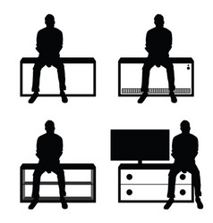 man silhouette set sitting leisure on stuff vector image vector image