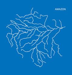 Map of amazon river drainage basin simple thin vector
