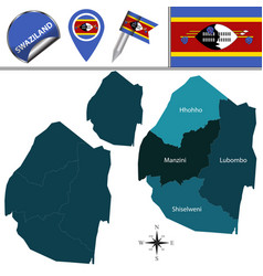 map of swaziland with named regions vector image