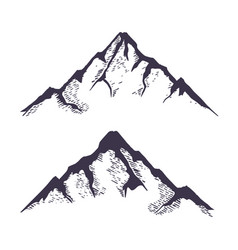 Mountains set hand drawn rocky peaks vector