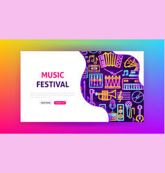 music festival neon landing page vector image