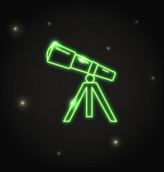 neon telescope icon in thin line style vector image