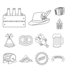 October festival in munich outline icons in set vector