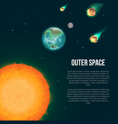 outer space poster with earth vector image