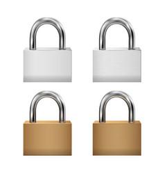 padlock icon set closed padlocks metal gold vector image