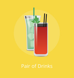 Pair of drinks green cocktail ice cube bloody mary vector