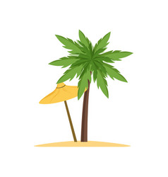 Palm tree and beach umbrella vector