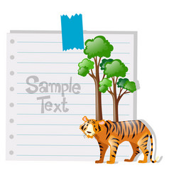paper template with tiger and tree vector image