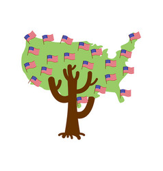 patriotic tree usa map america flag national vector image
