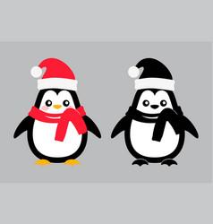 penguin bird kid icon with santa cap vector image