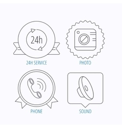 Phone call 24h service and sound icons vector image