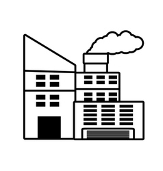 power plant building with chimney outline vector image
