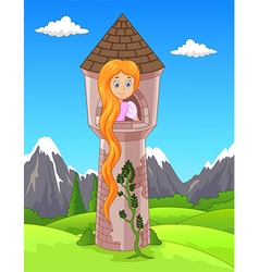 Princess with long hair waiting on the isolated vector image