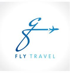 Q fly travel company logo vector