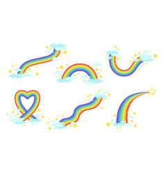 rainbows collection bright rainbows in sky vector image