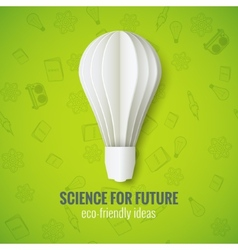 Realistic Paper Bulb in Origami Style on a Green vector image