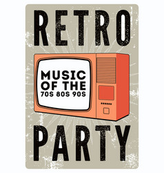 retro party grunge poster with old tv set vector image