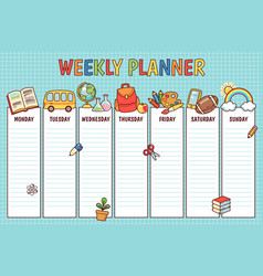 School weekly planner vector