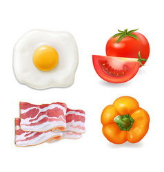 Scrambled eggs bacon tomato pepper vector