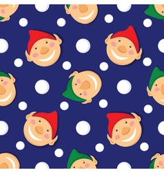 Seamless christmas pattern with elves and vector