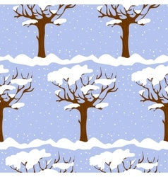 Seamless pattern with cartoon trees in winter vector image