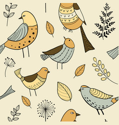 seamless pattern with cute hand drawn doodle birds vector image