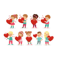 set cute kids characters with paper red hearts vector image