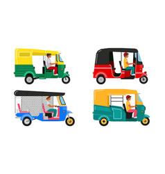 Set indian motor rickshaw car asian tuk tuk vector
