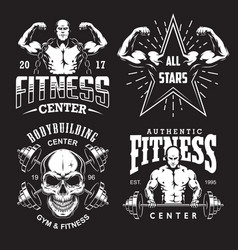 Set of bodybuilding emblems vector