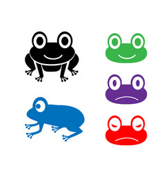 Set of frog icon in cartoon style vector