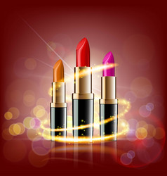 set of lipsticks on a glowing background vector image